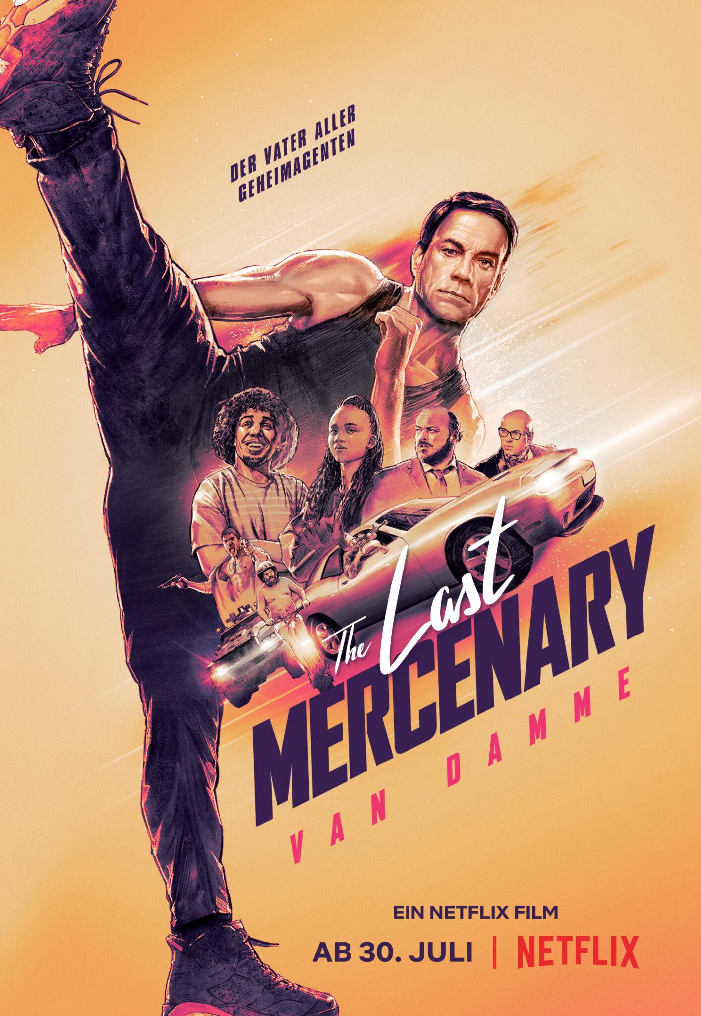 """Das deutsche Poster zu """"The Last Mercenary"""" zeigt den Protagonisten in ikonischer Kick-Pose vor orangem Hintergrund, sowie den Titel des Films und einige Nebenfiguren im Zentrum"""