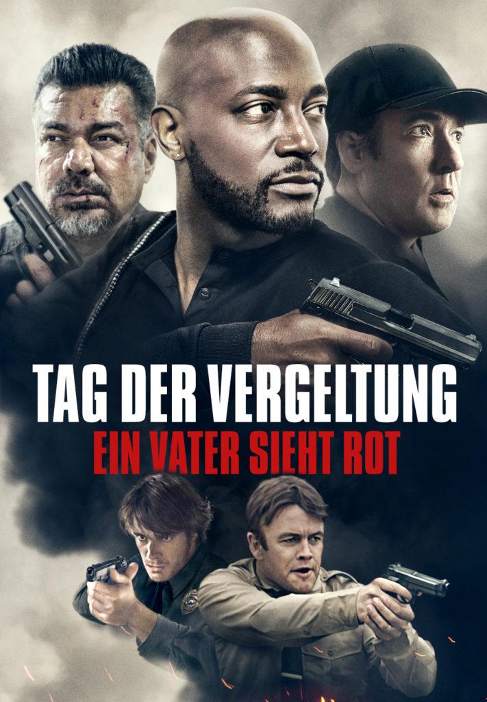 Das Cover von Tag der Vergeltung - Ein Vater sieht rot zeigt die Hauptdarsteller Taye Diggs, John Cusack, George Lopez und darunter die beiden Cops.