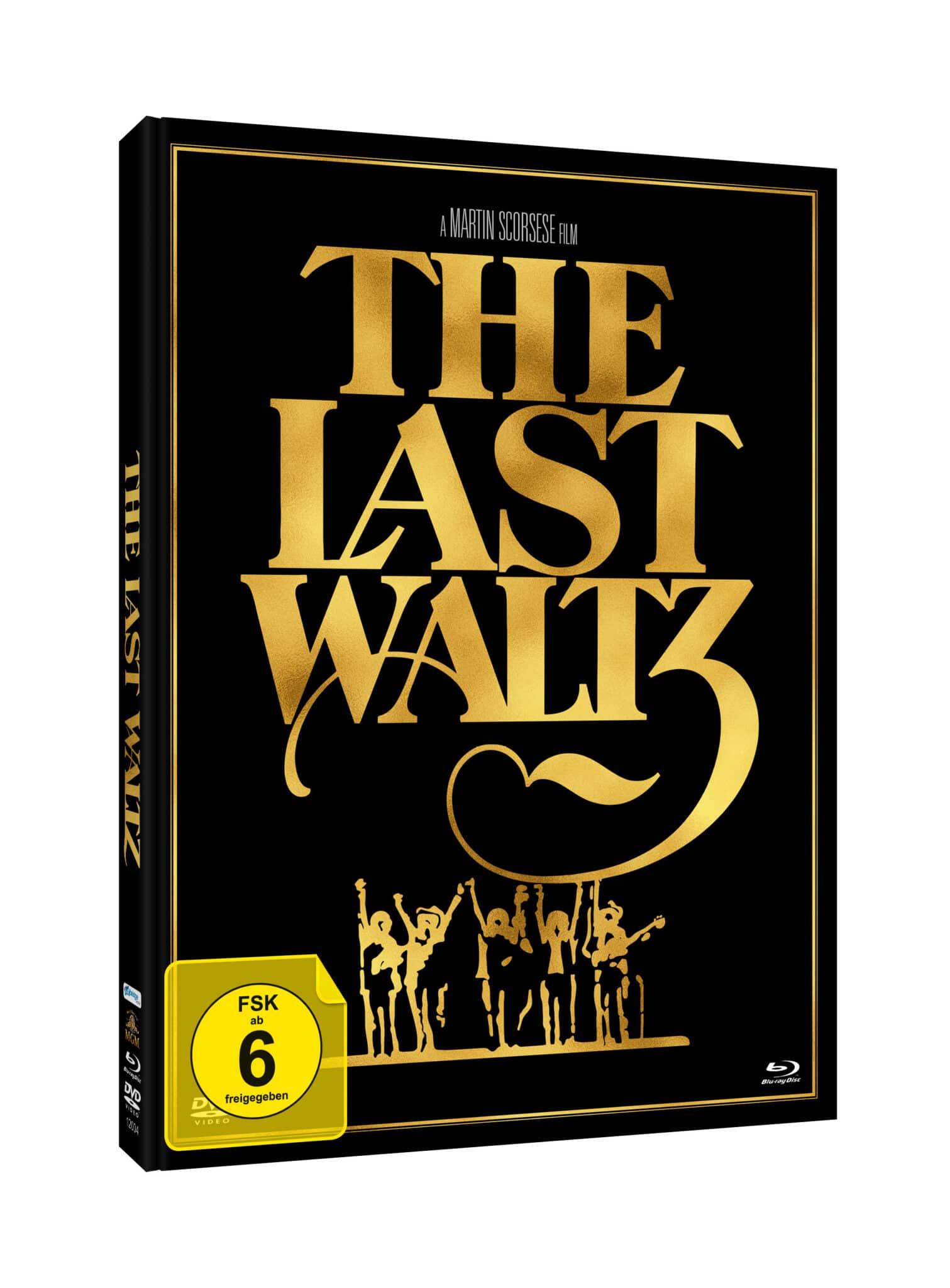 Das Cover des Mediabooks zu The Last Waltz zeigt in groß den goldfarbenen Schriftzug des Titels und darunter ein ebenfalls goldenes Konterfei der Band.