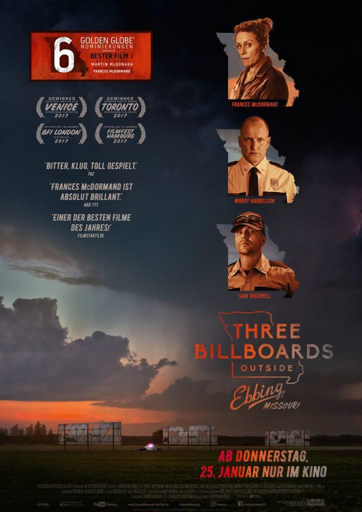 """Filmplakat von """"Three Billboards Outside Ebbing, Missouri"""" ©20th Century Fox"""