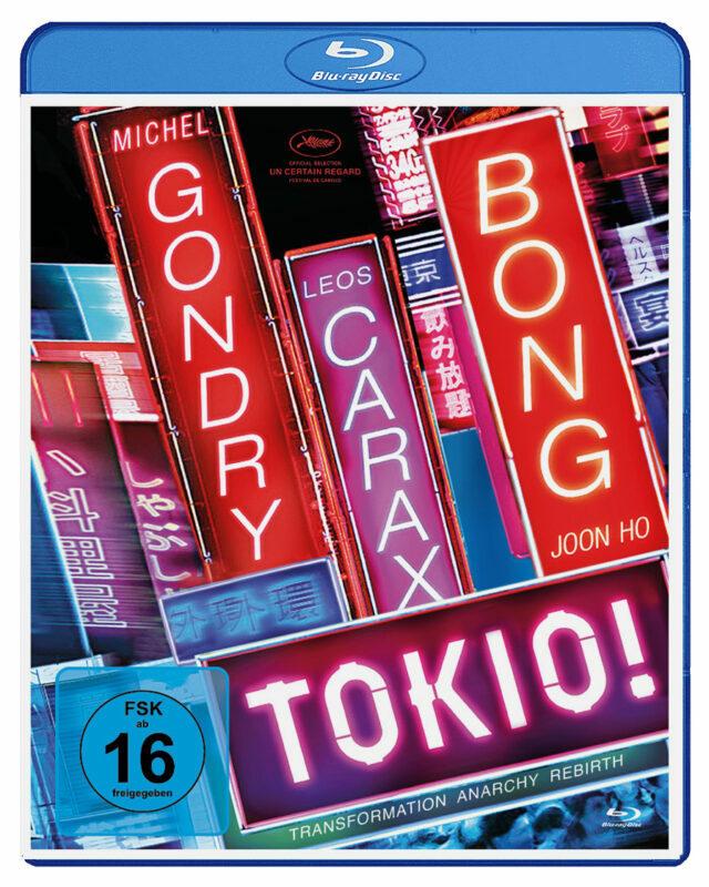 Das Cover der Blu-Ray von Tokio! zeigt den Titel sowie die drei Regisseursnamen in großen, neonfarbenen Lettern.