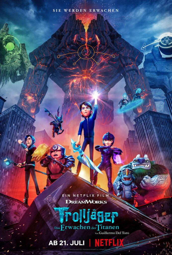 """Das deutsche Filmplakat zu """"Trolljäger - Das Erwachen der Titanen"""" zeigt die animierten Helden des Films. Im Hintergrund sind die drei Titanen zu erkennen."""