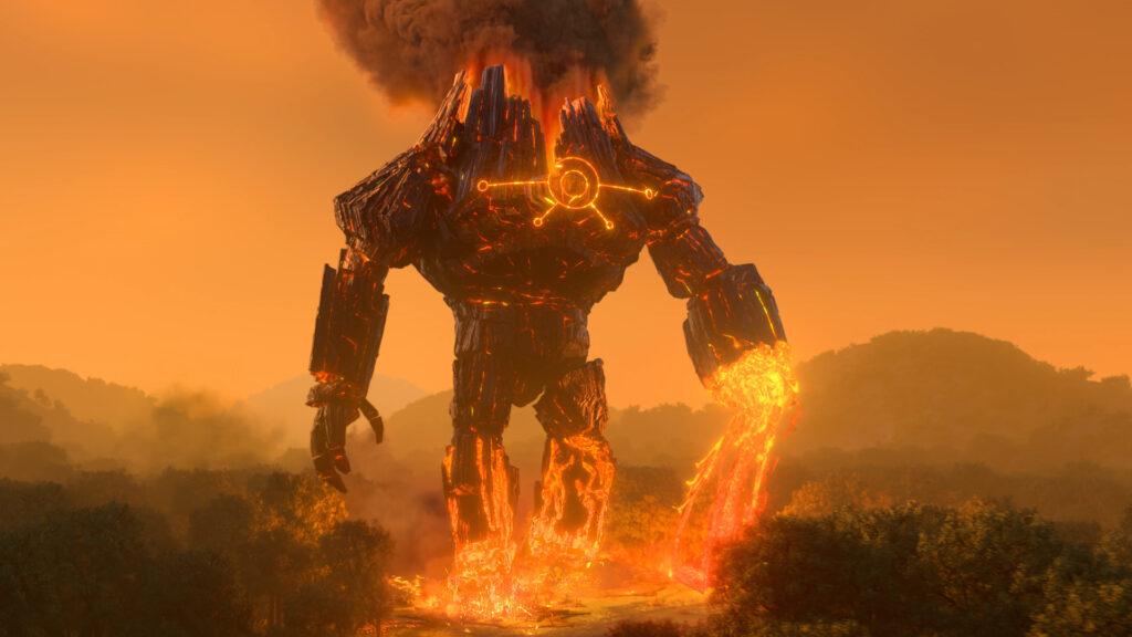 """Auf dem Bild ist einer der Titanen zu sehen. Dieser ist ein riesiger Fels ohne richtigen Kopf und Gesicht. Dennoch ist ein Körper mit Händen zu erkennen. Die linke Hand scheint abgetrennt zu sein. Aus der """"Wunde"""" tritt Lava aus, so wie scheinbar bei jedem Schritt, den der Titan macht. - Trolljäger - Das Erwachen der Titanen"""