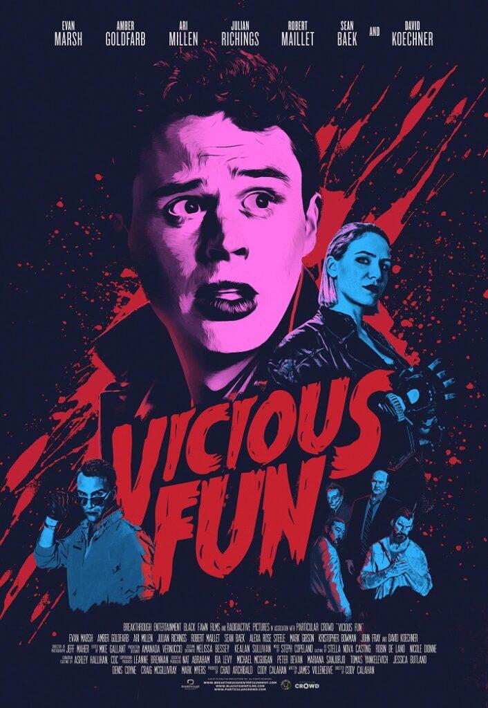 In Neonfarben getüncht schaut Held Joel besorgt über den bluttriefenden Titel drein - Vicious Fun