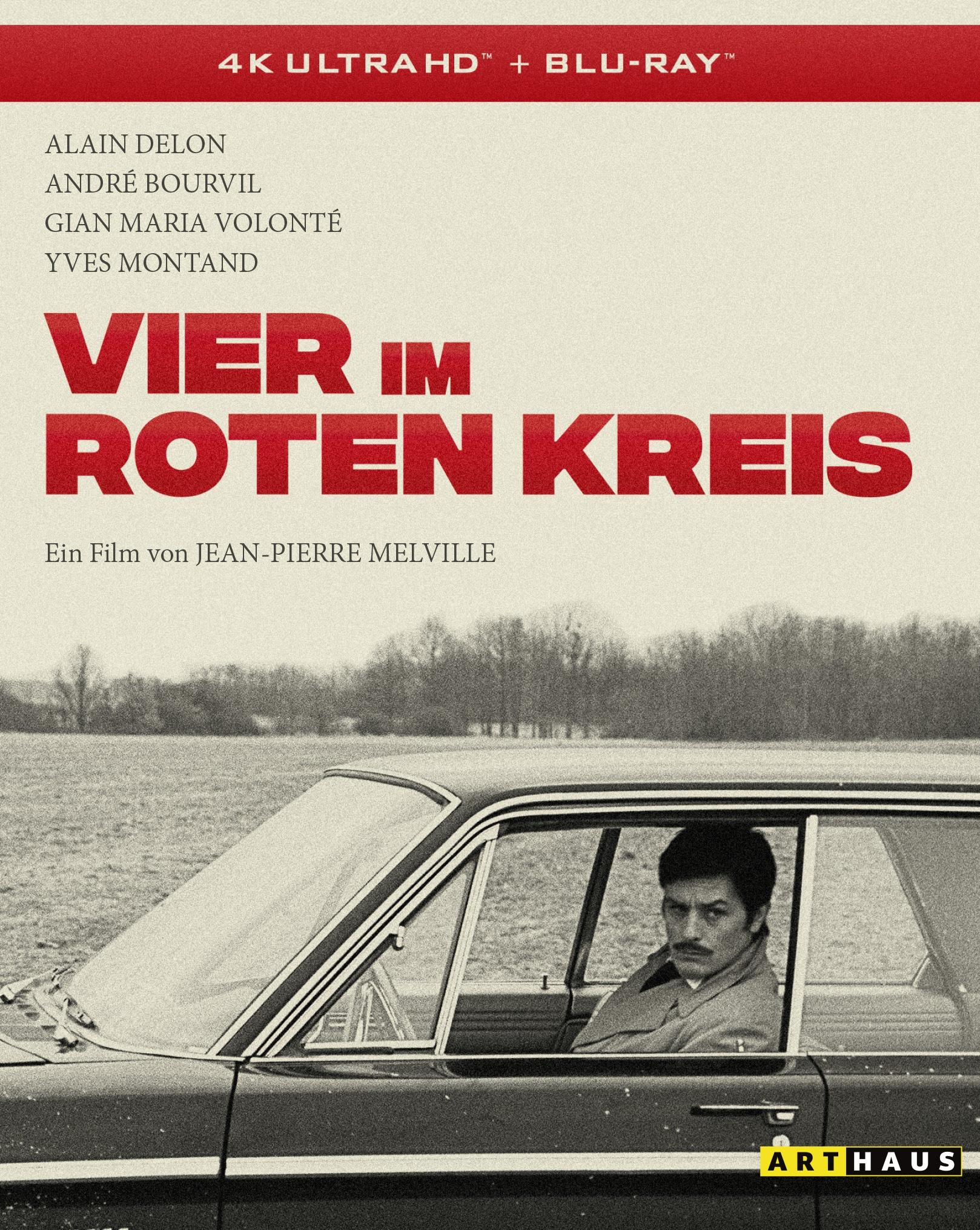 """Das Cover der 4K UHD-Disc von """"Vier im roten Kreis"""" zeigt Alain Delon als Corey im Auto sitzen. Der Schriftzug des Titels ist in knalligem Rot gehalten."""