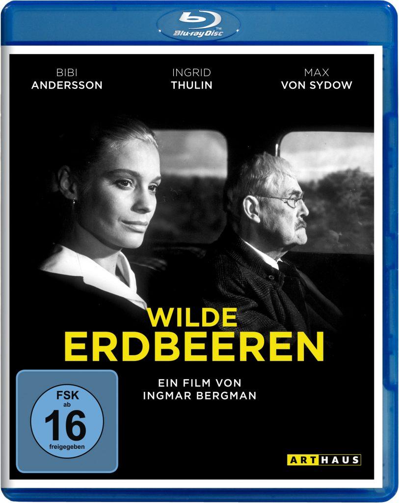 Das Cover der Blueray von Wilde Erdbeeren zeigt Isak Borg (Victor Sjöström) am Steuer seines Wagens und Marianne (Ingrid Thulin) auf dem Beifahrersitz. Beide blicken nach rechts in Fahrtrichtung. © Studiocanal Home Entertainment