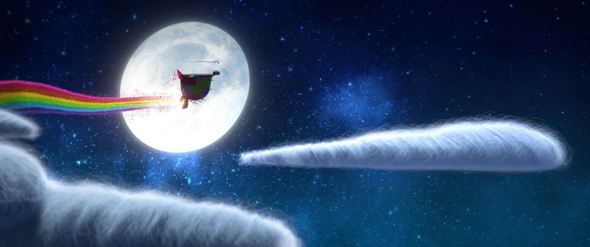 Ein Luftschiff fährt durch einen Regenbogen-Antrieb nachts durch die Lüfte, im Hintergrund leuchtet der Mond