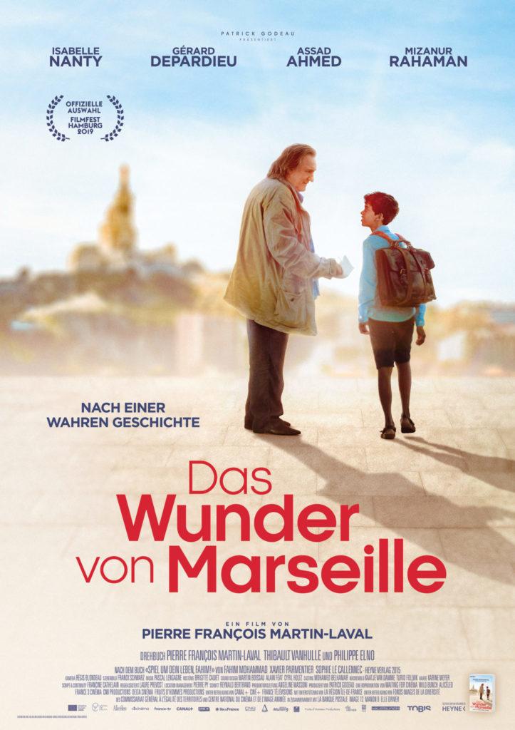 Das Filmplakat zu Das Wunder von Marseille zeigt Gérard Depardieu als Schachlehrer Sylvain Charpentier und Assad Ahmed als dessen Schüler Fahim.