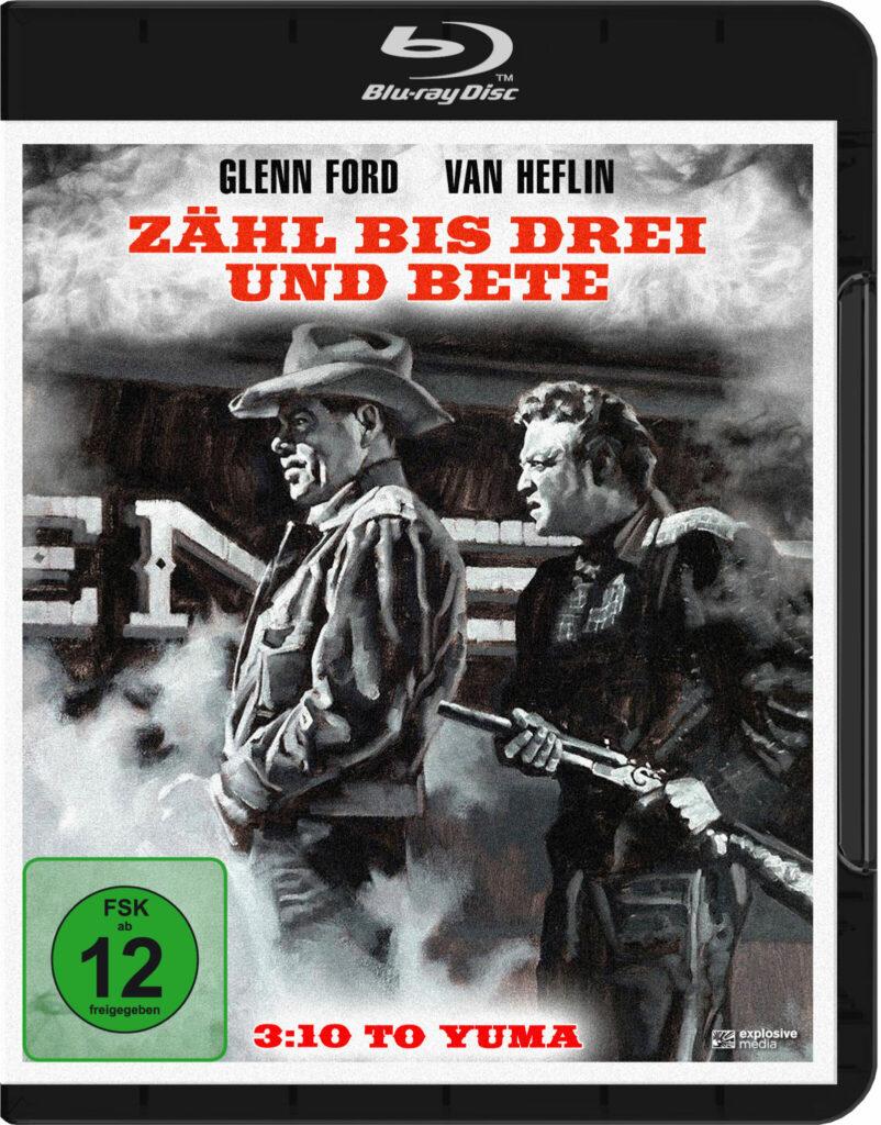 Das Cover der Blu-ray von Zähl bis drei und bete zeigt Ben Wade von Dan Evans mit erhobenem Gewehr bewacht.