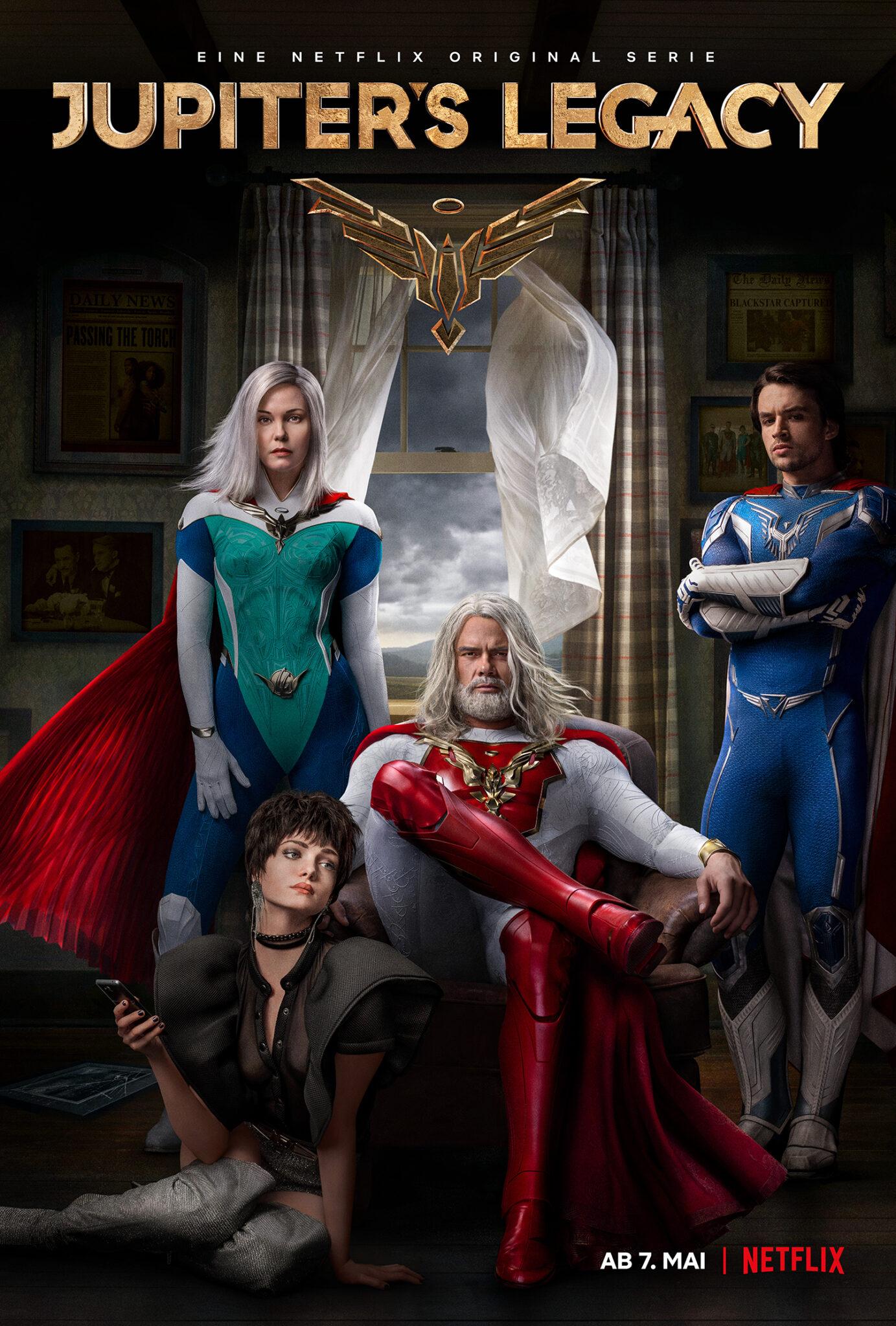 Das Poster zeigt die vier Familienmitglieder der Sampsons in ihren Heldenoutfits vor einem geöffneten Fenster. In der hinteren Reihe Grace und Brandon, im Mittelpunkt Sheldon und vorne links Chloe.