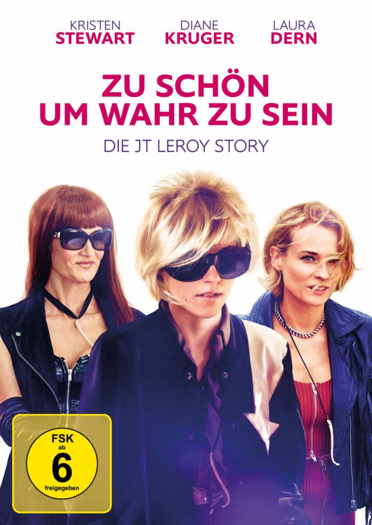 Coverbild von Zu schön um wahr zu sein - Die JT LeRoy Story. Zu sehen sind (v.l.n.r.) Laura Dern als Laura Albert, Kristen Stewart als JT LeRoy mit blonder Kurzhaarperücke und Diane Kruger als Eva.