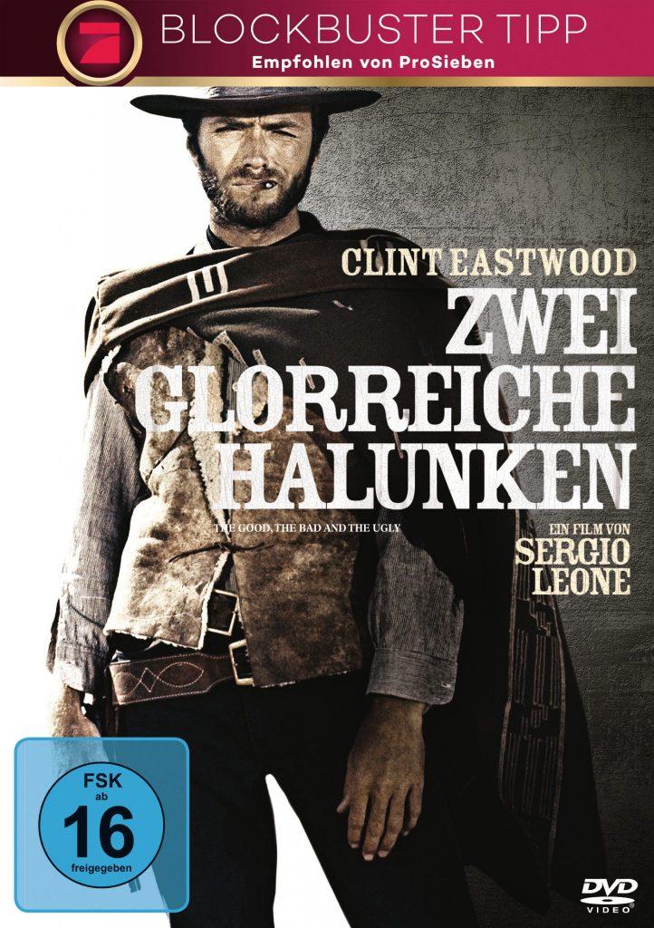 Das Cover von Zwei glorreiche Halunken zeigt Clint Eastwood schussbereit zum finalen Showdown in seinem altgewohnten Outfit mit Poncho und Schaffelljacke. Der Poncho ist über die rechte Schulter zurückgeworfen, so dass der Colt frei liegt.
