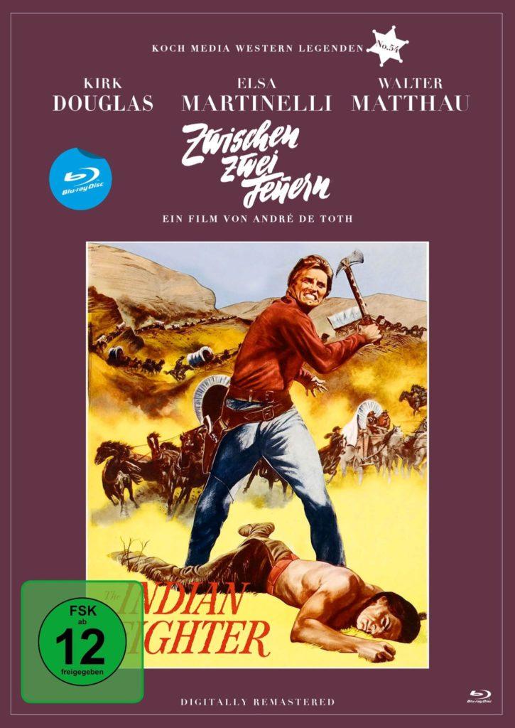 Das Cover der Blu-ray von Zwischen zwei Feuern zeigt gemalt den Hauptdarsteller Kirk Douglas mit einem Beil über einem am Boden liegenden Indianer stehen.