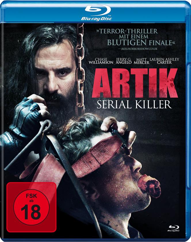 Der bärtige Bösewicht legt Hand an an einen geknebelten Mann auf dem Cover zu Artik: Serial Killer