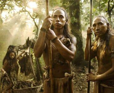 Pranke des Jaguars und sein Vater stehen im Dschungel und sehen Richtung Kamera, sie sehen nachdenklich aus
