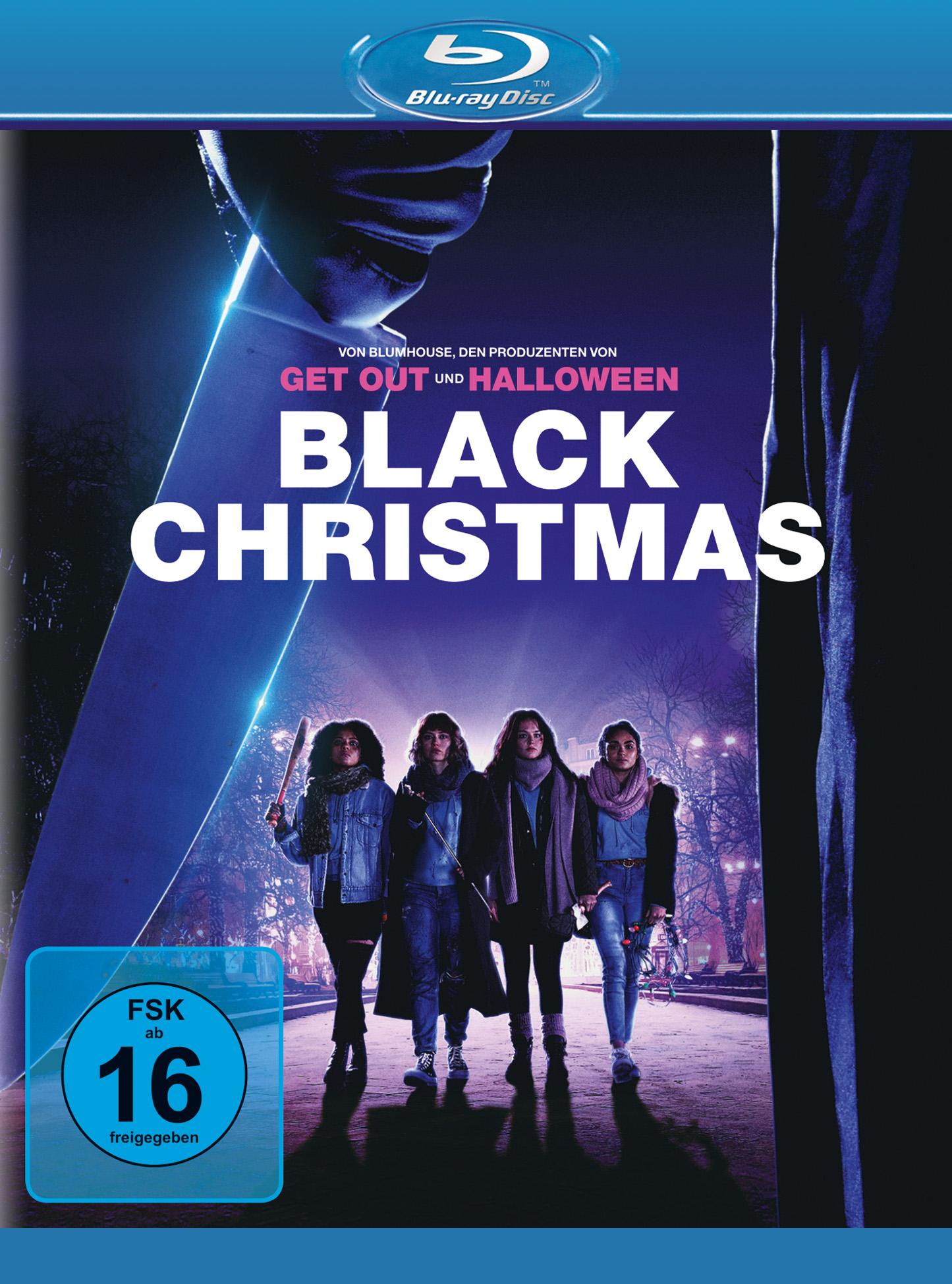 Auf diesem Blu-ray Cover zu Black Christmas 2019 stehen vier Studentinnen, die mit alltäglichen Gegenständen bewaffnet sind, einer unbekannten Person mit Messer gegenüber.