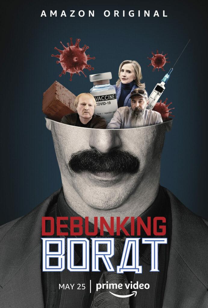 Borats Kopf ist auf dem Poster eine Schale für Viren, Spritzen und Populisten - Neu bei