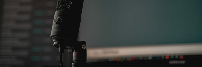 Im Vordergrund ein Mikrofon, im Hintergrund ein Computer, welcher die Tonspur aufzeichnet.