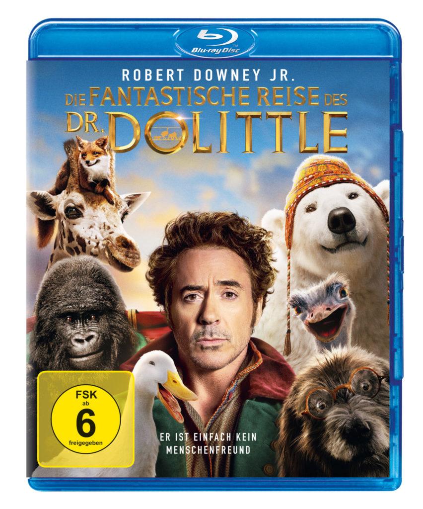 """Blu-ray-Cover zu """"Die fantastische Reise des Dr. Dolittle"""" zeigt den zynisch dreinblickenden Robert Downey Jr. umgeben von einem Fuchs, einer Giraffe, einem Gorilla, einer Gans, einem Hund, einem Strauß und einem Eisbären."""