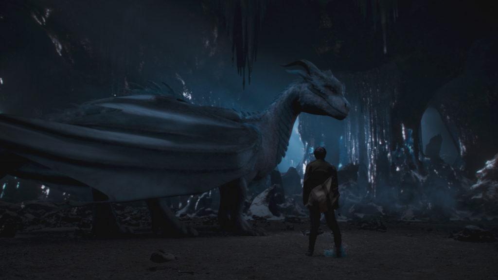 Lukas steht dem Drachen Siveth in einer Höhle gegenüber, Dragonheart - Die Vergeltung