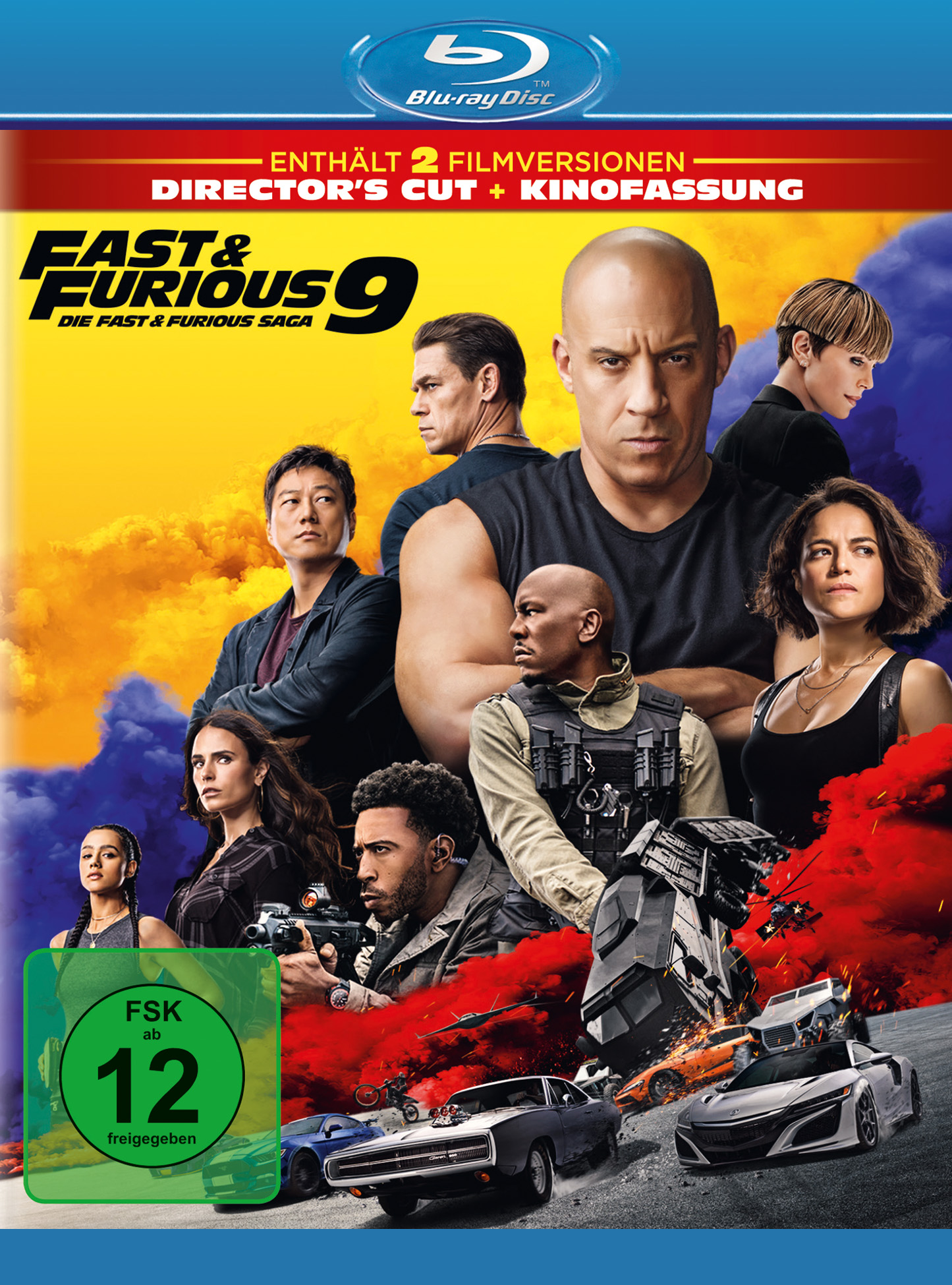 Die Frontansicht der Blu-Ray Disc zu Fast & Furious 9 zeigt die Hauptfiguren, unten im Bild einige Autos und die Altersfreigabe.