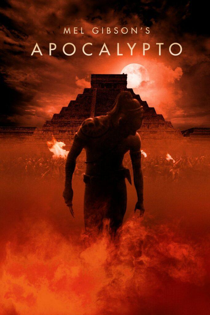 Eine männliche Silhouette steht vor einem roten Hintergrund, hinter ihm sieht man die Sonne und einen Maya-Tempel