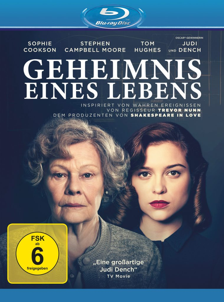 Das Cover der Blu-ray von Geheimnis eines Lebens zeigt links Hauptdarstellerin Judi Dench in der Rolle der alten Joan Stanley, rechts daneben Sophie Cookson in der Rolle der jungen Joan Stanley.