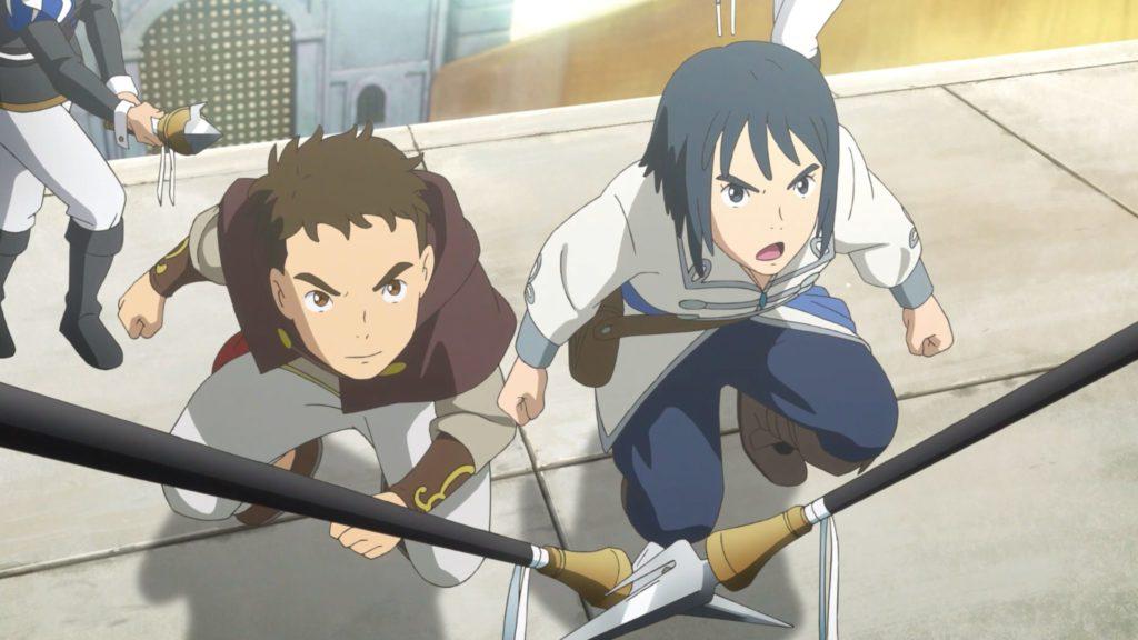 Yuu und Haru sehen nach oben, sie sind von Waffen umringt in Ni no Kuni