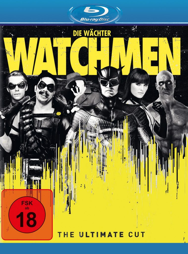 BluRay zu Watchmen, die Watchmen stehen aufgreieht auf dem Cover