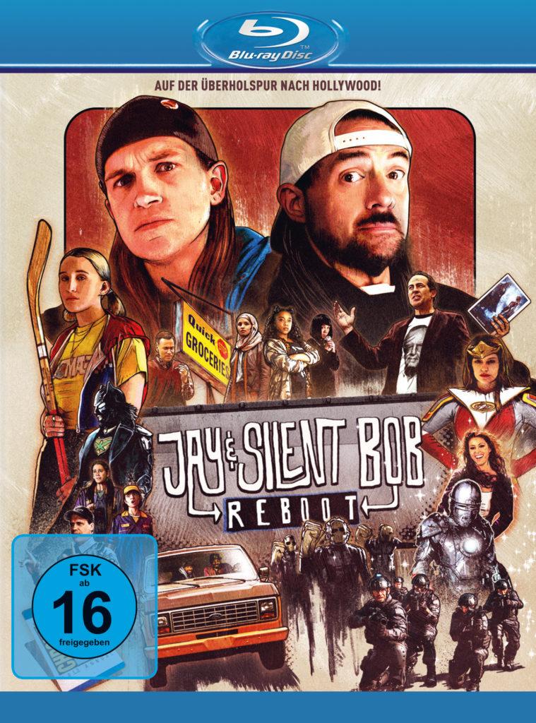 Das Filmcover zu Jay & Silent Bob Reboot zeigt die namensgebenden Protagonisten in groß, sämtliche Nebencharaktere in klein.