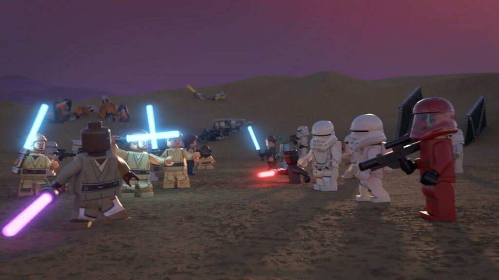 Die Lego-Jedis stehen den Bösewichten und ihren Sturmtruppen in der Wüste gegenüber - Neu auf Disney+ im Dezember 2020