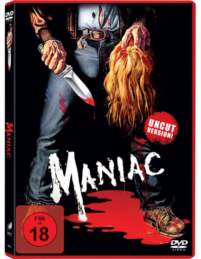 Das Cover der DVD zu Maniac, auf dem Frank Zito ab der Hüfte abwärts mit einem Messer in der einen und einem Frauenkopf in der anderen Hand zu sehen ist
