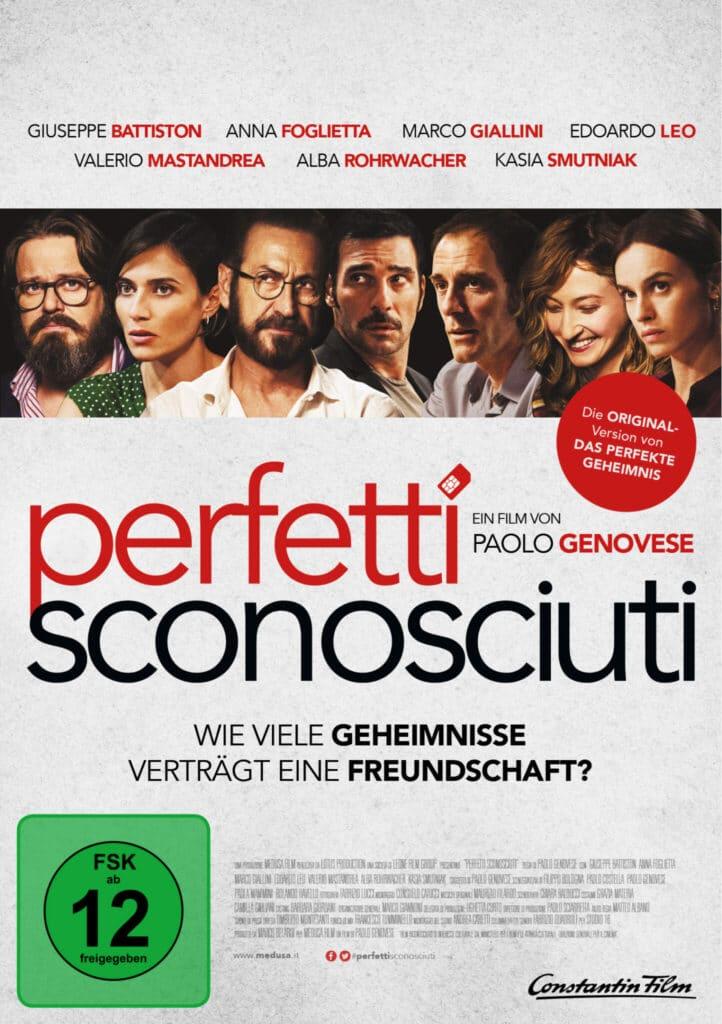 Das DVD-Cover von Perfetti Sconosciuti mit den Köpfen aller Darsteller von links nach rechts