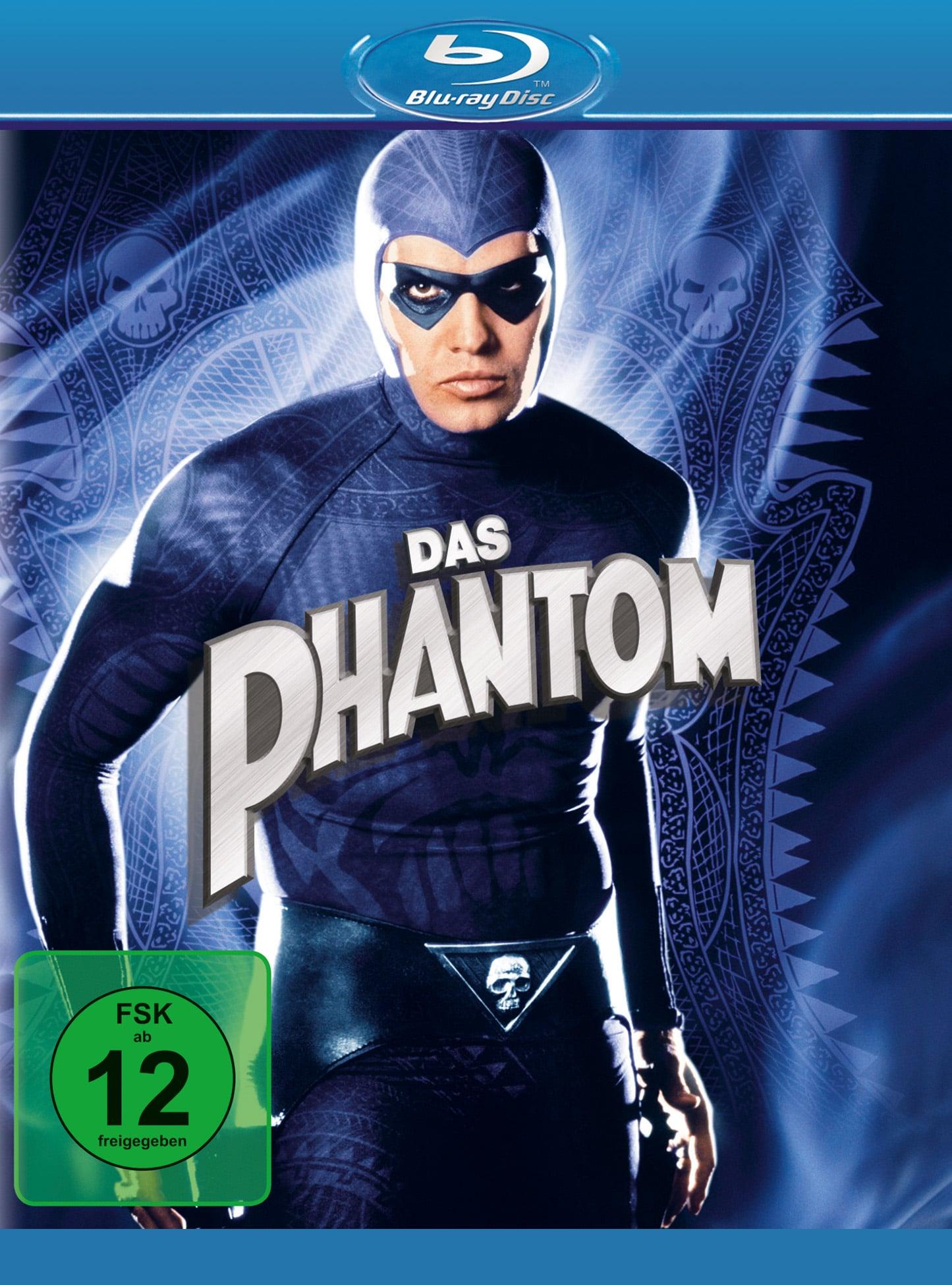 Auf dem Blu-ray-Cover von Das Phantom sieht man Billy Zane im lila Kostüm des Phantoms, mit einer schwarzen Augenmaske und einem Totenkopfgürtel. Der Hintergrund ist lila und mit Totenköpfen geschmückt