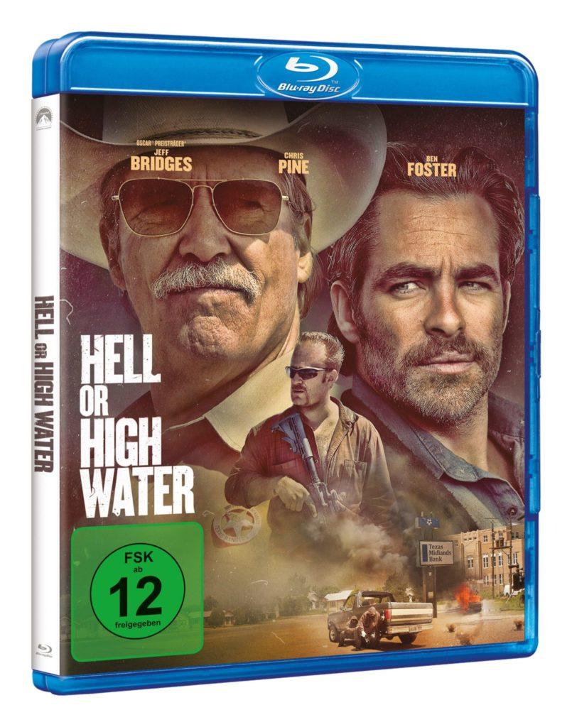 BluRay zu Hell or High Water, zeigt Chris Pine und Jeff Bridges groß im Portrait und Ben Foster mit Sturmgewehr in der Hand auf dem Cover von Hell or High Water