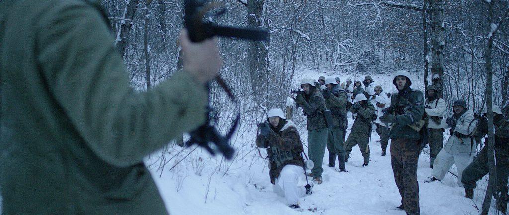 Deutsche Soldaten auf ihrem Vormarsch