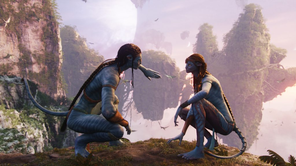 Neytiry (Zoe Saldana) und Jake Sully (Sam Worthington) nach der ersten Flugstunde in Avatar - Aufbruch nach Pandora. © 2017 Twentieth Century Fox Home Entertainment