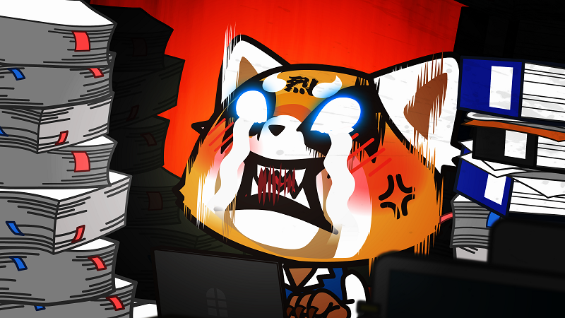 Ein Zeichentrick-Fuchs schaut mit gefletschten Zähnen und leuchtenden, tränenden Augen zwischen einem Stapel Papiere nach oben - Neu auf Netflix im August 2020