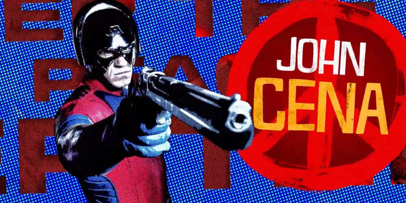 Das blau-rote Charakterposter zeigt Peacemaker (John Cena) mit einer Pistole in der Hand.
