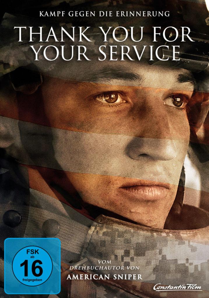 Das DVD-Cover von Thank You for Your Service zeigt Miles Teller als Adam Schumann in Nahaufnahme. Er trägt Helm und Kampfanzug.