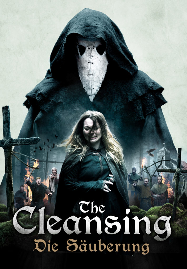 Das Plakat zu The Cleansing - Die Säuberung zeigt im Hintergrund übergroß und bedrohlich den Läuterer. Im Vordergrund steht Alice (Rebecca Acock). Klein im Hintergrund der wütende Mob.