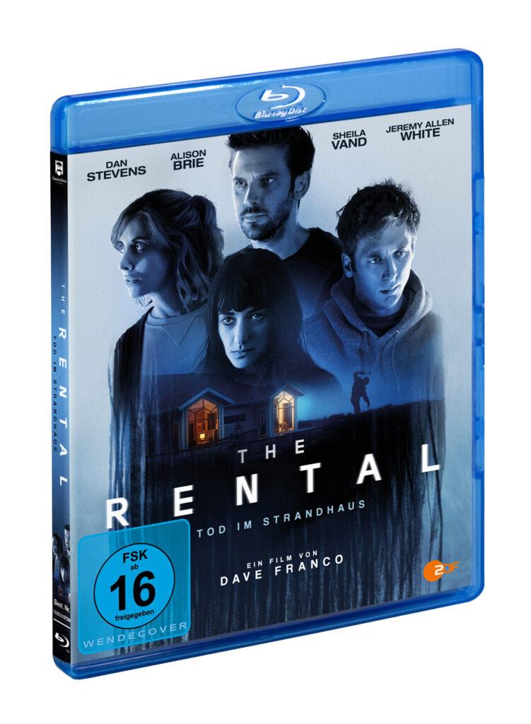 Auf dem Blu-ray-Cover von The Rental sind die vier Hauptdarsteller zu sehen. Im Hintergrund sie man das bei Nacht beleuchtete Haus und eine mordende Person davor