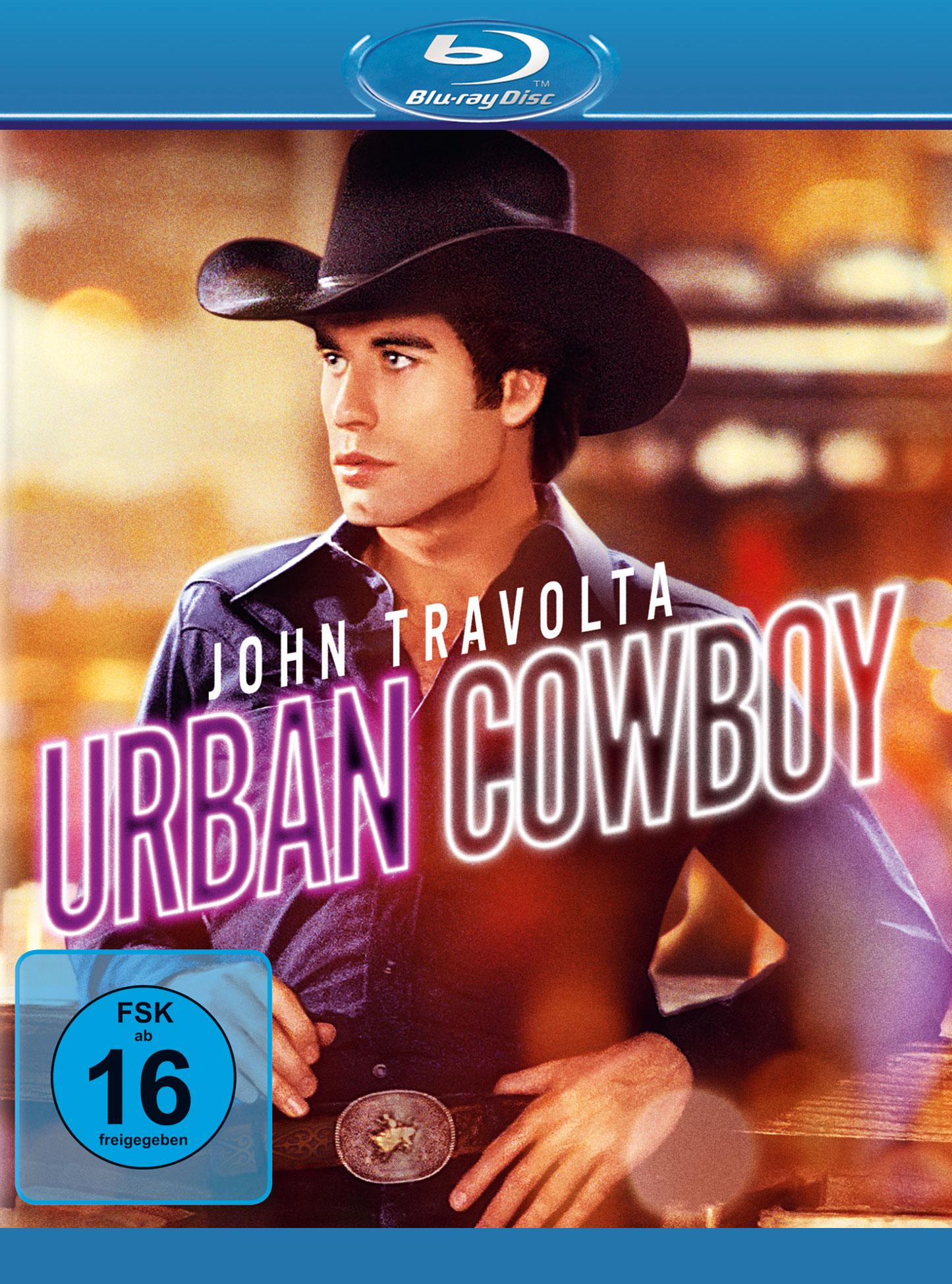 """John Travolta mit Cowboyhut auf dem Cover der neuen Blu-Ray von """"Urban Cowboy""""."""