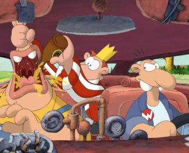 Werner, Eckat und Andi sitzen in ihrem Auto, während Andi Eckats Mund aufhält und ihm Bier einflößt, Werner - Gekotzt wird später!