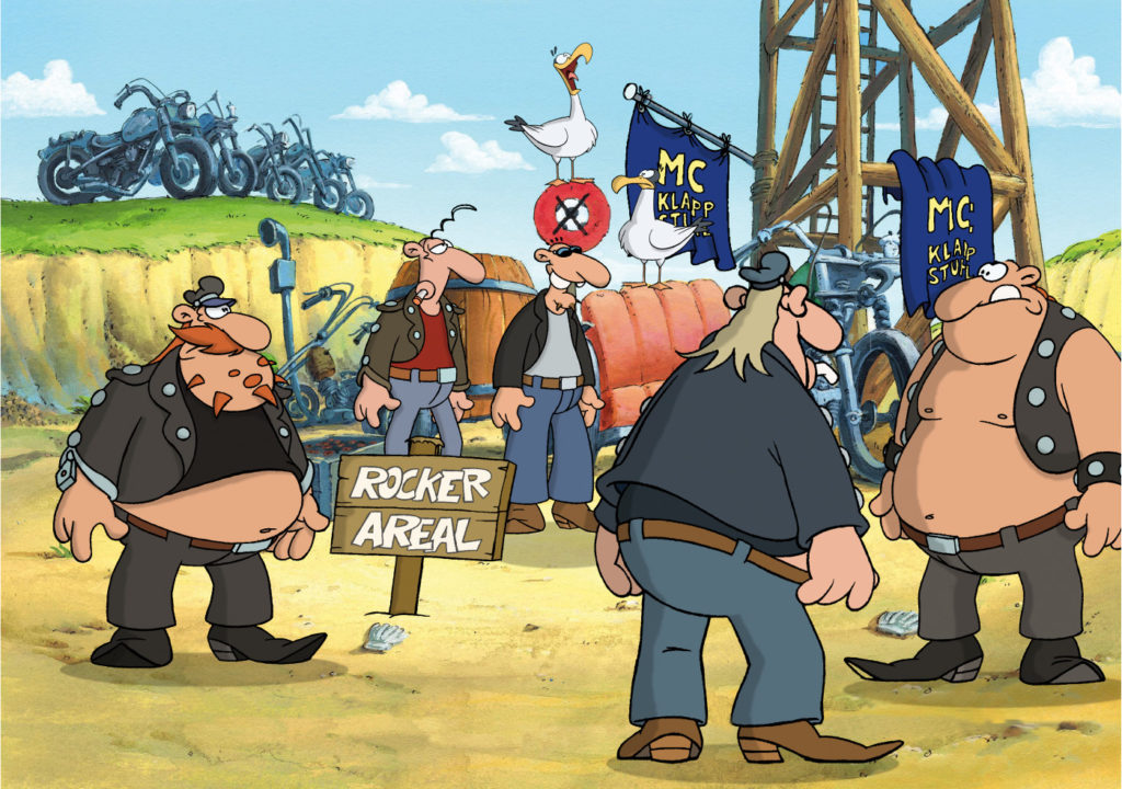 Die Rocker-Gang steht am Strand und wartet auf den Beginn des Fußballspiels, Werner - Gekotzt wird später!