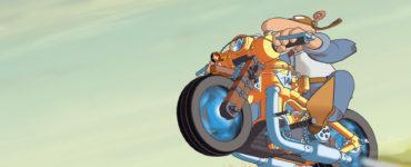 Werner fährt auf seinem Motorrad über eine Wiese, Werner - Volles Rooäää!!! ©Constantin Film