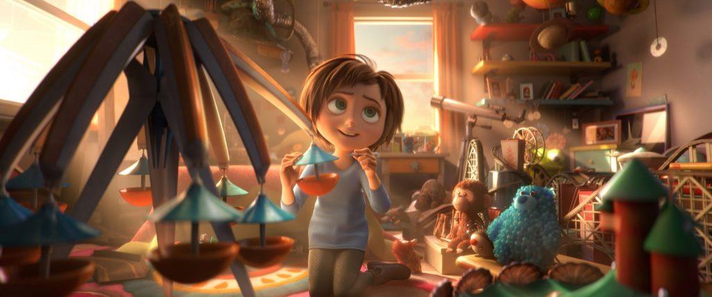 June baut in ihrem Zimmer an einer Attraktion des Wunder Parks