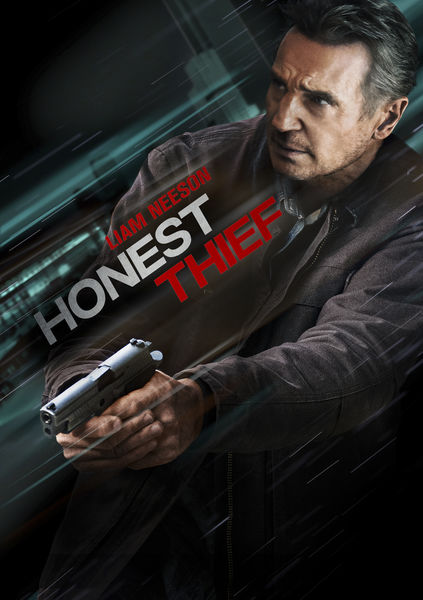 Das Cover von Honest Thief zeigt Liam Neeson mit gezückter Waffe.