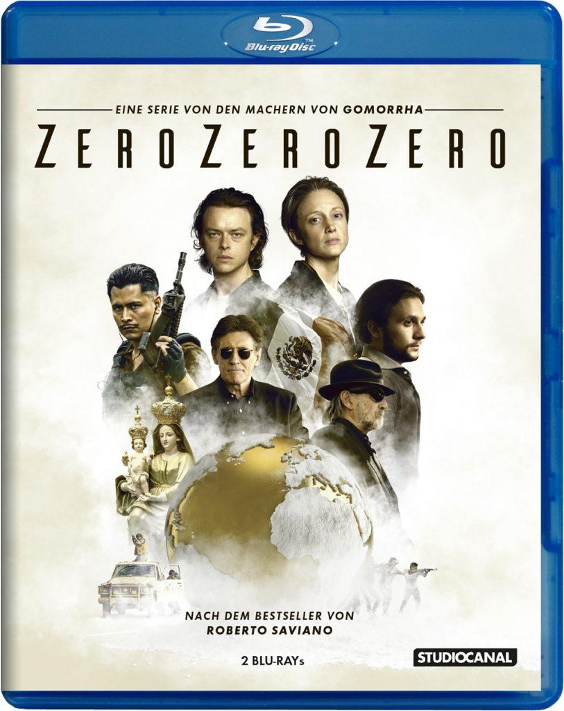 Die deutsche Blu-ray zu ZeroZeroZero von vorne mit Titel und abgebildeten Hauptfiguren © Studiocanal